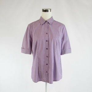 The Limited purple white pinstripe blouse L
